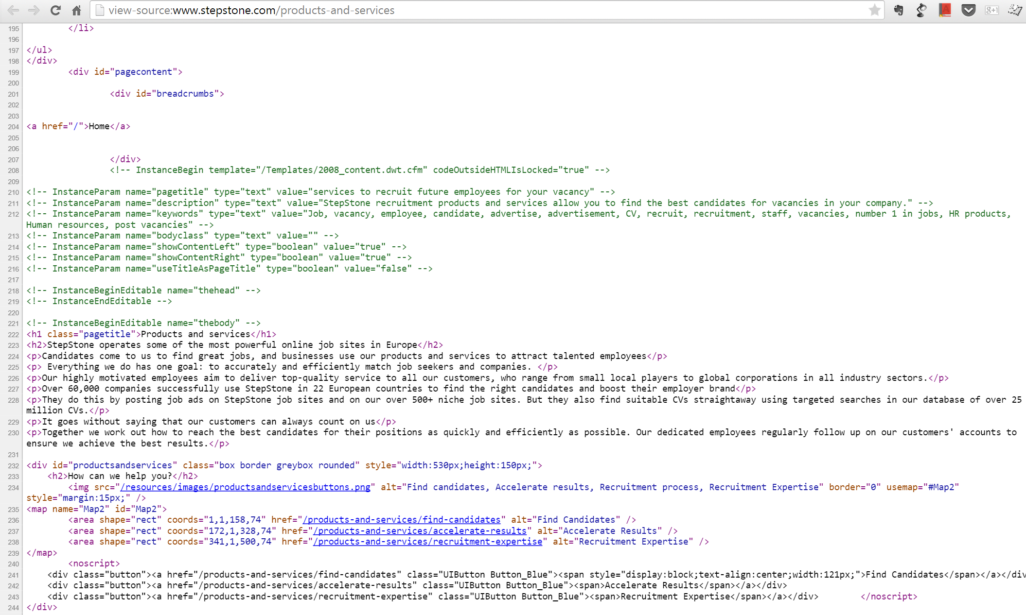 Stepstone.com Source code still containing the Dreamweaver template comments